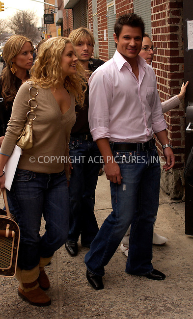 WWW.ACEPIXS.COM . . . . .  ....NEW YORK, FEBRUARY 9, 2005....Nick Lachey takes a couple of pitstops around Manhattan. First he goes with wife Jessica Simpson to her fragrance launch, and later to the midtown restaurant Serafina.....Please byline: Ian Wingfield - ACE PICTURES..... *** ***..Ace Pictures, Inc:  ..Philip Vaughan (646) 769-0430..e-mail: info@acepixs.com..web: http://www.acepixs.com
