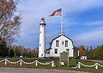 The Presque Isle Lighthouse on Lake Huron during a beautiful autumn afternoon, Michigan, Lower Peninsula, USA