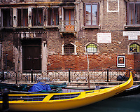 Yellow Gondola, Venice, Italy   Near the Grand Canal   Adriatic Sea