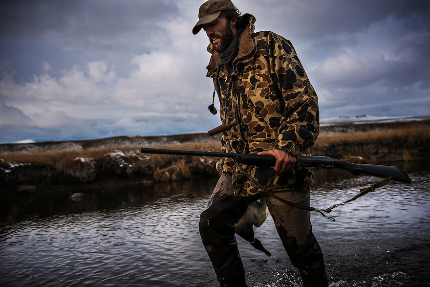 A duck hunter returns to the blind with a mallard while waterfowl hunting in western Montana.