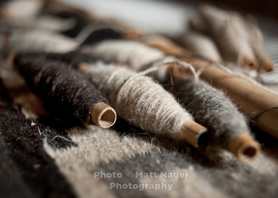 Details from the loom and wool used to weave rugs made by 85-year-old rug weaver Secundino Bazan Mendoza (cq) at his home in Teotitlán del Valle, Oaxaca, in Mexico, Sunday, April 8, 2012. Basan uses on the natural color of sheep wool and makes one rug a year...Photo by Matt Nager