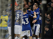 2nd December 2017, Goodison Park, Liverpool, England; EPL Premier League football, Everton versus Huddersfield Town;  Dominic Calvert-Lewin of Everton is congratulated by his team mates after he scores his side's second goal after 73 minutes