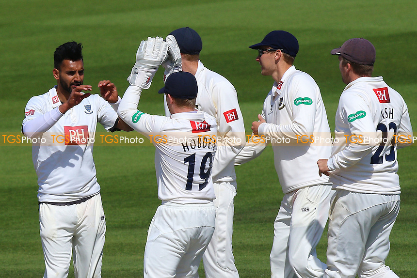 Ajmal Shahzad (L) is congratulated by his team mates after taking the wicket of Daniel Lawrence during Sussex CCC vs Essex CCC, Specsavers County Championship Division 2 Cricket at The 1st Central County Ground on 20th April 2016