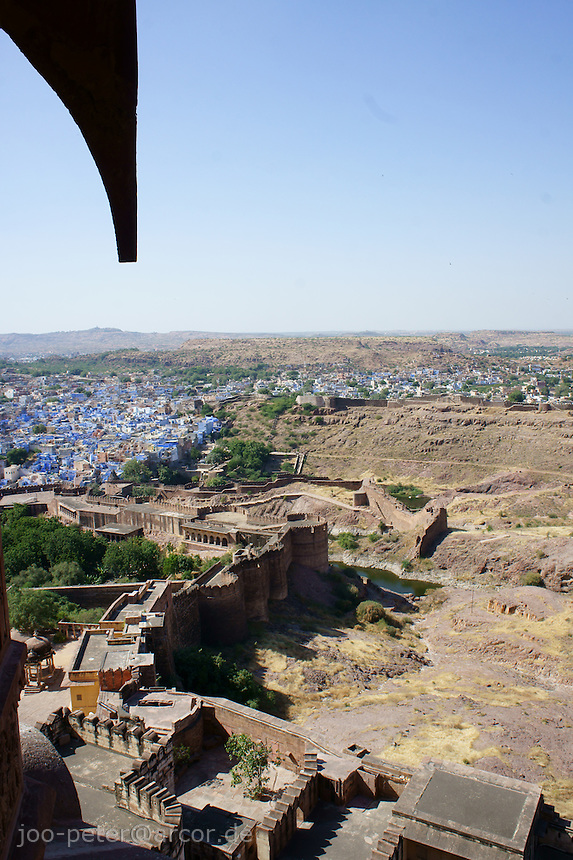 view from a balcony of Fort Mehrangarh, down on city Jodhpur, looking North, Rajastan, India