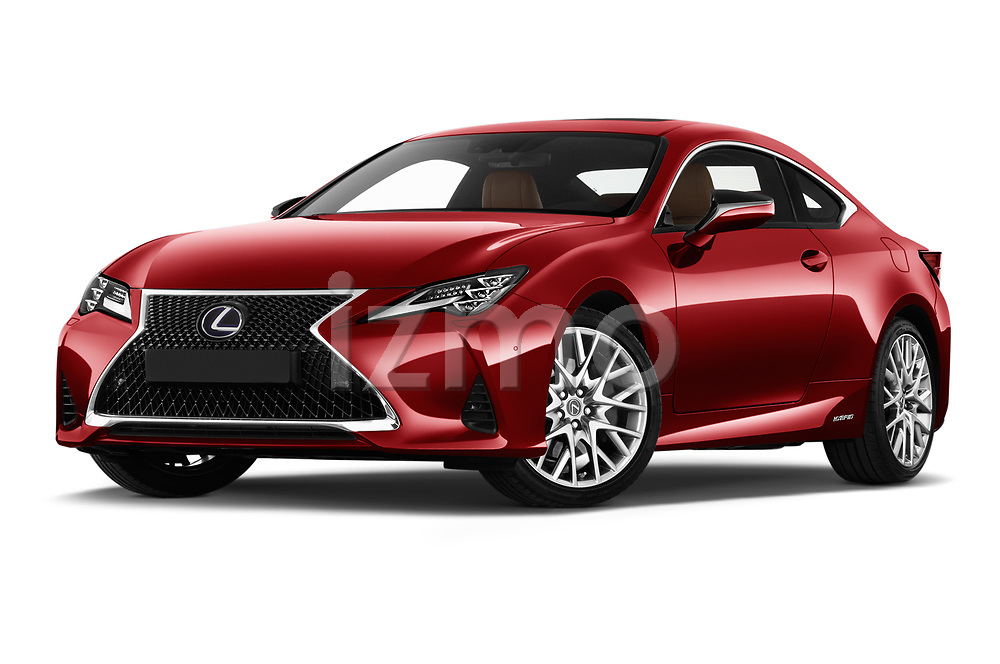 Stock pictures of low aggressive front three quarter view of 2019 Lexus RC 300h-Privilege-Line 2 Door Coupe Low Aggressive