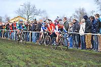 WIELRENNEN: SURHUISTERVEEN: 02-01-2014, Centrumcross, winnaar Lars van der Haar aan de leiding voor Mike Teunissen en daarachter Thijs van Amerongen, ©foto Martin de Jong