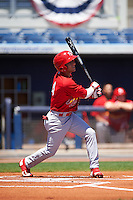 Palm Beach Cardinals shortstop Mikey Reynolds (4) at bat during a game against the Charlotte Stone Crabs on April 10, 2016 at Charlotte Sports Park in Port Charlotte, Florida.  Palm Beach defeated Charlotte 4-1.  (Mike Janes/Four Seam Images)