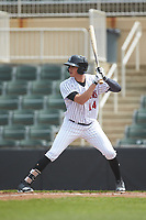 Craig Dedelow (14) of the Kannapolis Intimidators at bat against the Lakewood BlueClaws at Kannapolis Intimidators Stadium on April 8, 2018 in Kannapolis, North Carolina.  The Intimidators defeated the BlueClaws 5-1 in game one of a double-header.  (Brian Westerholt/Four Seam Images)
