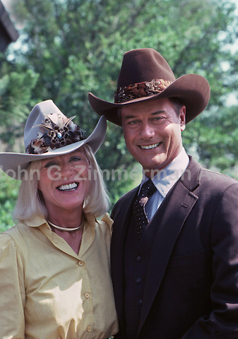 "Larry Hagman with wife, Maj, on location  ""Dallas,"" TV series, 1980."