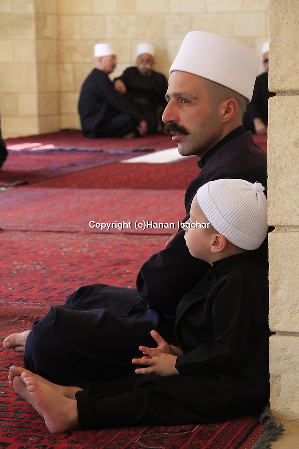 Israel, Lower Galilee, the annual Druze pilgrimage to Nabi Shueib, father and son