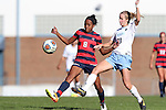 12 November 2016: Liberty's Gabrielle Farrell (8) and North Carolina's Cameron Castleberry (21). The University of North Carolina Tar Heels played the Liberty University Flames at Fetzer Field in Chapel Hill, North Carolina in a 2016 NCAA Division I Women's Soccer Tournament First Round match. UNC won the game 3-0