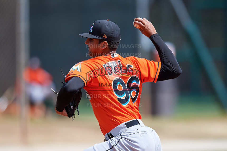 Miami Marlins pitcher Jeremy Ovalle (96) during a Minor League Spring Training Intrasquad game on March 27, 2018 at the Roger Dean Stadium Complex in Jupiter, Florida.  (Mike Janes/Four Seam Images)