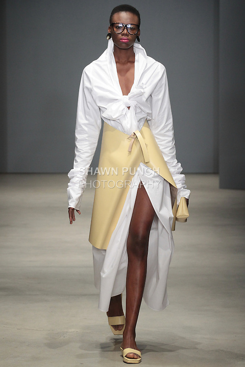 Model walks runway in an outfit from the DexterDexterDexter Fall Winter 2016 collection by Dexter Cheston during New York Fashion Week Fall 2016.