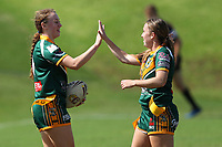 The Wyong Roos play Woy Woy Roosters in Round 2 of the Ladies League Tag Central Coast Rugby League Division at Morry Breen Oval on 14th of April, 2019 in Kanwal, NSW Australia. (Photo by Paul Barkley/LookPro)
