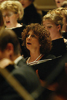 Lynn Rae Lowe (LYNN RAE LOWE), center, performs with the Southern Arizona Women's Chorus (formerly known as the Foothills Women's Chorus) alongside the Pope John Paul II High School Advanced Women's Chorus of Hendersonville, TN, St. Cecilia Academy Chorus of Nashville, TN, and New England Symphonic Ensemble during a dress rehearsal at Carnegie Hall in New York, NY on Sunday, June 25, 2006.