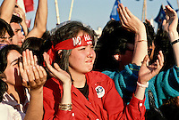 A woman wearing a 'No' headband during a rally calling for a 'No' vote in the 1988 referendum. This asked the people to choose either 'Yes', for a continuation of Pinochet's rule or 'No', for him to leave office.