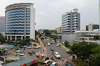 RWANDA, Kigali, city center with banks and insurance companies / RUANDA, Kigali, Stadtzentrum, Banken Buero und Versicherungstower
