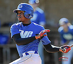 Ke'shaun Samuel (12) of the Spartanburg Methodist College Pioneers bats in a junior college intrasquad scrimmage on January 19, 2015, at Mooneyham Field in Spartanburg, South Carolina. (Tom Priddy/Four Seam Images)