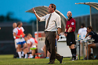 Sky Blue FC head coach Jim Gabarra. Sky Blue FC defeated the Boston Breakers 5-1 during a National Women's Soccer League (NWSL) match at Yurcak Field in Piscataway, NJ, on June 1, 2013.