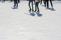 Skaters maneuver the packed Winter Village ice skating rink at Bryant Park in New York on Friday, February 14, 2014. (© Richard B. Levine)