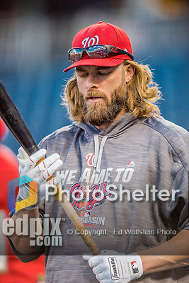 13 October 2016: Washington Nationals outfielder Jayson Werth awaits his turn in the batting cage prior to Game 5 of the NLDS against the Los Angeles Dodgers at Nationals Park in Washington, DC. The Dodgers edged out the Nationals 4-3, to take Game 5 of the Series, 3 games to 2, and move on to the National League Championship Series against the Chicago Cubs. Mandatory Credit: Ed Wolfstein Photo *** RAW (NEF) Image File Available ***