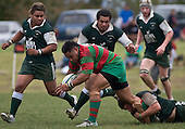 Mark Selwyn hangs on to Maka Tatafu as reinforcements arrive to help. Pat Walsh memorial pre-season rugby game between Manurewa & Waiuku played at Mountfort Park, Manurewa on 5th April, 2008. Waiuku led 12 - 8 at halftime, though Manurewa went on to win 30 - 23.