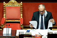 The Italian Minister of Economy Roberto Gualtieri at the Senate reading finance documents during the discussion and vote for the updating of the budget document for 2020. Rome (Italy), July 29th 2020<br /> Photo Samantha Zucchi Insidefoto