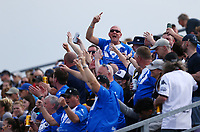 TORONTO, ON - MAY 05:  Swinton Lions fans cheer during the second half of a Betfred Championship match against the Toronto Wolfpack at Fletcher's Fields on May 5, 2018 in Toronto, Canada.  (Photo by Vaughn Ridley/SWpix.com)