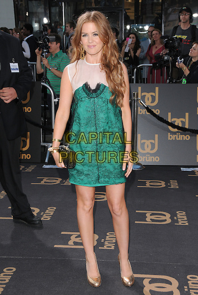 "ISLA FISHER .The Universal Pictures' L.A. Premiere of ""Bruno"" held at the Grauman's Chinese Theatre in Hollywood, California, USA. .June 25th, 2009.full length white sheer green pattern dress sleeveless black clutch bag gold lace shoes .CAP/DVS.©Debbie VanStory/Capital Pictures."