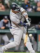 New York Yankees second baseman Gleyber Torres (25) grounds out in the ninth inning against the Baltimore Orioles at Oriole Park at Camden Yards in Baltimore, MD on Tuesday, May 21, 2019.   The Yankees won the game 11 - 4.<br /> Credit: Ron Sachs / CNP<br /> (RESTRICTION: NO New York or New Jersey Newspapers or newspapers within a 75 mile radius of New York City)