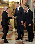 King Felipe VI of Spain (c), receives in the Royal Palace the President of the French Republic Emmanuel Macron (r) in presence of Spanish designer Modesto Lomba. July 26,2018. (ALTERPHOTOS/Acero)