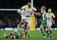 Sailosi Tagicakibau of Wasps takes on the London Irish defence. Aviva Premiership match, between London Irish and Wasps on November 28, 2015 at Twickenham Stadium in London, England. Photo by: Patrick Khachfe / JMP