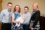 Baby Niamh O'Mahony with her parents Tom & Mary O'Mahony, Kilcox, Liselton and god parents Eoin o'Mahony & Anna 'Mahony who was christened in Bllydonoghue Church by Fr. John Lawlor on Sunday  last and afterwards at the Listowel Arms Hotel.