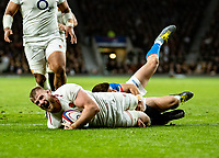 George Kruis of England goes over to score his try during the Guinness Six Nations match between England and Italy at Twickenham Stadium on March 9th, 2019 in London, United Kingdom. Photo by Liam McAvoy.