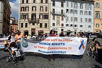 Roma, 10 Maggio 2017<br /> Protesta in Piazza della Rotonda dei caregivers familiari di ogni regione italiana, a sostegno dell'accelerazione della discussione del progetto di legge n. 2128, in linea con la campagna chiamata #unaleggesubito, lanciata negli ultimi mesi dalle  Coordinamento nazionale  famiglie disabili