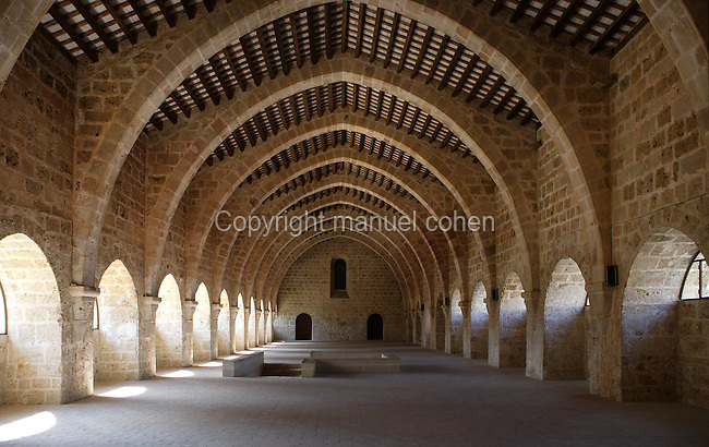 Low angle view of the Dormitory, Monestir de Santes Creus, Aiguamurcia, Catalonia, Spain, pictured on May 21, 2006, in the morning. The monks slept on straw matresses in this 12th century Dormitory room, vaulted with a series of large ogival arches. The Cistercian Reial Monestir Santa Maria de Santes Creus and its church were built between 1174 and 1225. Following strict Cistercian rule, the Romanesque complex originally featured no architectural embellishments with the exception of ornamented capitals and crenellations on the rooflines. In the 13th century parts of the abbey and the cloister were converted in Gothic style by James II of Aragon who also added the dome to the church. Picture by Manuel Cohen.