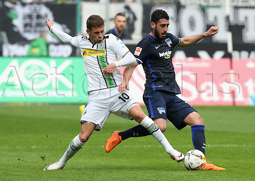 03.04.2016. Monchengladbach, Germany.  Bundesliga Football. Borussia Monchengladbach versus Hertha Berlin. Thorgan Hazard Moenchengladbach against Tolga Cigerci Berlin