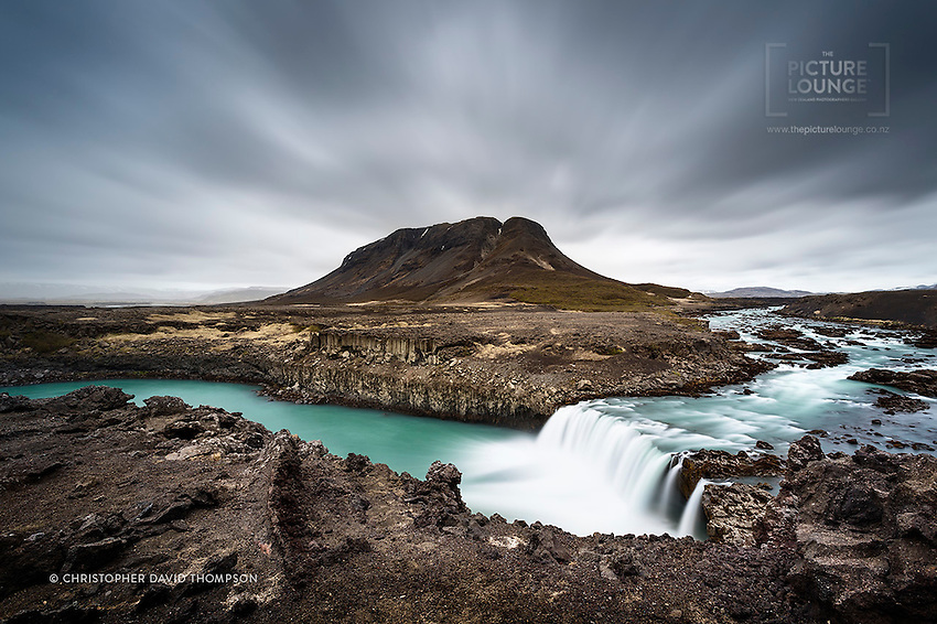 A jaw-droppingly beautiful and rugged setting in Iceland's landscape near Tröllkonufoss (the Troll's Loop)for this spectacular waterfall (pronouced Thofafoss), at the base of the mountain Búrfell in Southern Iceland's lavascape wilderness...