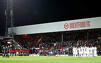 Leeds United FC and Brentford FC observe a minute's silence during the Sky Bet Championship match between Brentford and Leeds United at Griffin Park, London, England on 4 November 2017. Photo by Carlton Myrie.