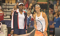 Feb 10, 2018; Asheville, NC, USA;<br /> Arantxa Rus (NED) and Venus Williams (USA)