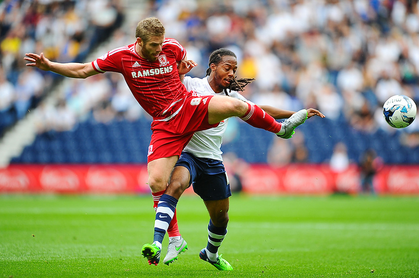 Preston North End's Daniel Johnson battles for possession with Middlesbrough's Adam Clayton <br /> <br /> Photographer Craig Thomas/CameraSport<br /> <br /> Football - The Football League Sky Bet Championship - Preston North End v Middlesbrough -  Sunday 9th August 2015 - Deepdale - Preston<br /> <br /> &copy; CameraSport - 43 Linden Ave. Countesthorpe. Leicester. England. LE8 5PG - Tel: +44 (0) 116 277 4147 - admin@camerasport.com - www.camerasport.com