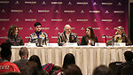 Ellie Heyman, Max Vernon, Stewart F. Lane, Leah Lane and Bonnie Comley during a panel for BroadwayHD and the future of capturing stage performances for New Musicals at New York Hilton Midtown on January 13, 2019 in New York City.