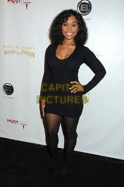 "Angell Conwell.Kevin Hart's ""Laugh At My Pain"" Los Angeles Premiere held at the Pacific Design Center, West Hollywood, California, USA..September 7th, 2011.full length black dress hand on hip.CAP/ADM/BP.©Byron Purvis/AdMedia/Capital Pictures."
