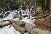 "Diana's Baths in Bartlett, New Hampshire USA during the winter months. Diana's Baths is a series of small cascades located on Lucy Brook. Remnants of the old 1800s ""Lucy's Mill"" can be found in this area. The Lucy family owned this sawmill, and they abandoned it in the 1940s."