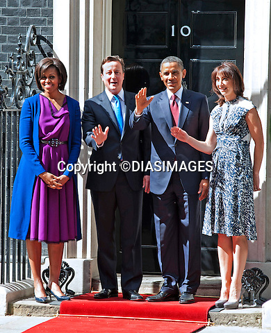 "PRESIDENT OBAMA STATE VISIT_No.10 Downing Street.President Barack Obama and First Lady Michelle Obama with David and Samantha Cameron at No.10 Downing Street, London_24/05/2011.Mandatory Photo Credit: ©Dias/DiasImages..**ALL FEES PAYABLE TO: ""NEWSPIX INTERNATIONAL""**..PHOTO CREDIT MANDATORY!!: DIASIMAGES(Failure to credit will incur a surcharge of 100% of reproduction fees)..IMMEDIATE CONFIRMATION OF USAGE REQUIRED:.Newspix International, 31 Chinnery Hill, Bishop's Stortford, ENGLAND CM23 3PS.Tel:+441279 324672  ; Fax: +441279656877.Mobile:  0777568 1153.e-mail: info@newspixinternational.co.uk"
