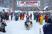 Colby Spears during the start of the 2018 Junior Iditarod Sled Dog Race on Knik Lake in Southcentral, Alaska.  Saturday February 24, 2018<br /> <br /> Photo by Jeff Schultz/SchultzPhoto.com  (C) 2018  ALL RIGHTS RESERVED