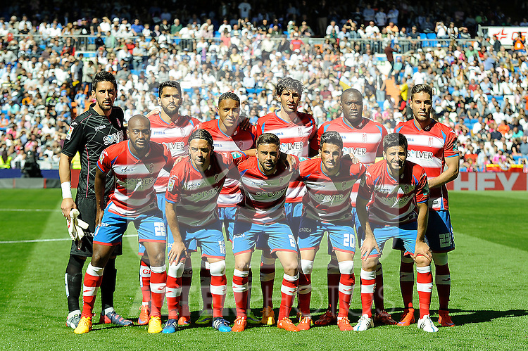 Granada´s goalkeeper Oier Olazabal, Francisco Rico, Diego Mainz, Jean-Sylvain Babin, Daniel Candeias, Youssef El Arabi, Manuel Iturra, Juan Carlos Perez, Robert Ibanez, Dimitri Foulquier and Ruben Rochina during 2014-15 La Liga match between Real Madrid and Granada at Santiago Bernabeu stadium in Madrid, Spain. April 05, 2015. (ALTERPHOTOS/Luis Fernandez)