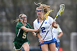 22 February 2015: Duke's Maddy Action (2) and William & Mary's Abby Corkum (5). The Duke University Blue Devils hosted the College of William & Mary Tribe on the West Turf Field at the Duke Athletic Field Complex in Durham, North Carolina in a 2015 NCAA Division I Women's Lacrosse match. Duke won the game 17-7.