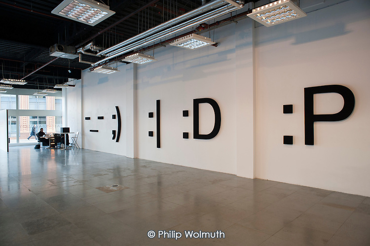 Exhibition by Stephane Blumer at La Scatola Gallery in Shoreditch, London, a run-down commercial district  also known as Silicon Roundabout, which is undergoing gentrification as it becomes a centre for web-based companies and IT start-ups.