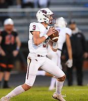 Middleton's Bryce Carey drops back for a pass, as Wisconsin Big Eight Conference high school football between Middleton and Verona on Friday, 8/24/18 at Verona High School